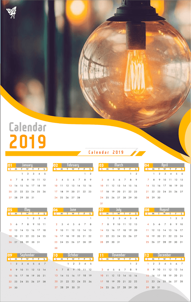 002 Calendar 2019 Printable vector cdr
