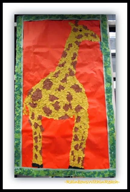 "Torn Paper Mural created for the picture book ""Tall Giraffe"" by Debbie Clement"