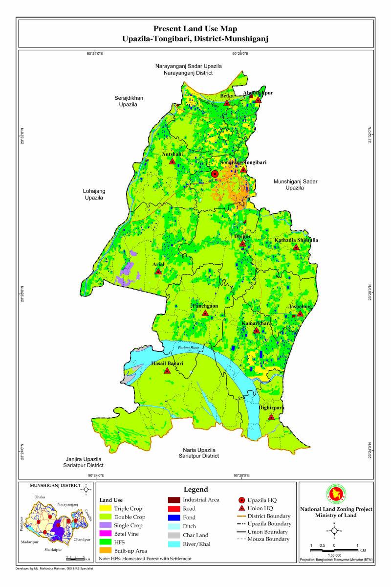 Tongibari Upazila Mouza Map Munshiganj District Bangladesh