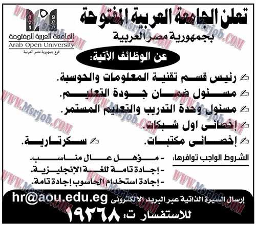 وظائف الجامعة العربية المفتوحة للمؤهلات العليا من الجنسين والتقديم الكترونى حتى 12 / 11 / 2016