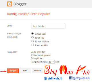 Konfigurasikan Widget Popular Post