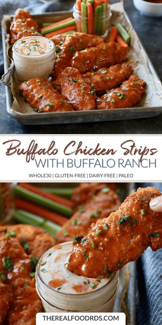 Buffalo Chicken Strips with Buffalo Ranch | whole30 recipe | gluten-free chicken strips | buffalo chicken recipe | dairy-free chicken strip recipe | paleo dinner recipe | healthy dinner recipe || The Real Food Dietitians #whole30 #glutenfreedinner