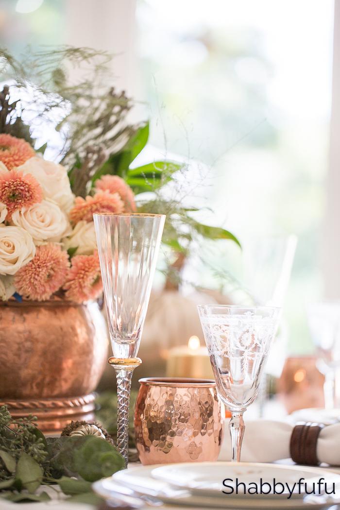 copper thanksgiving table setting shabbyfufu