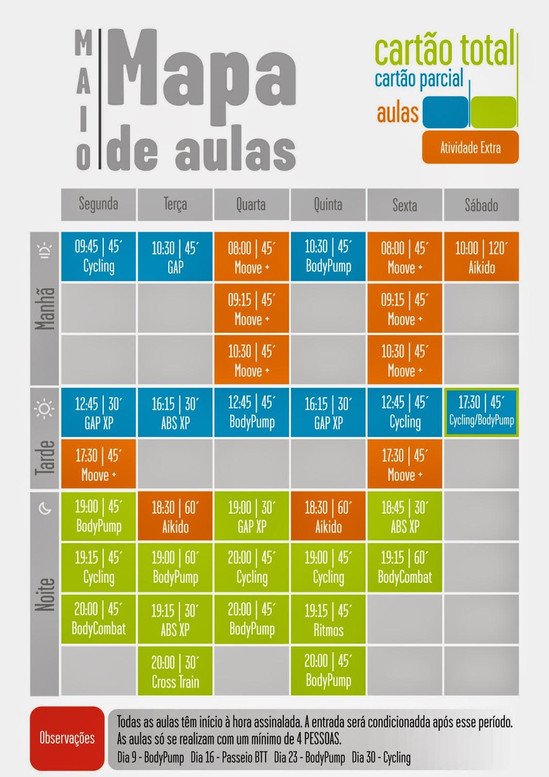 mapa de aulas Moove Health Club: Mapa de Aulas em vigor em Maio mapa de aulas