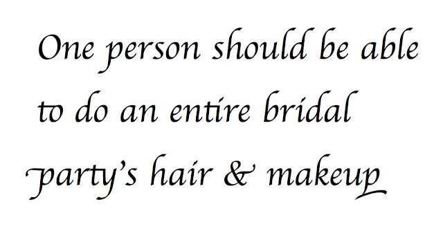 One person for hair and makeup bridal services