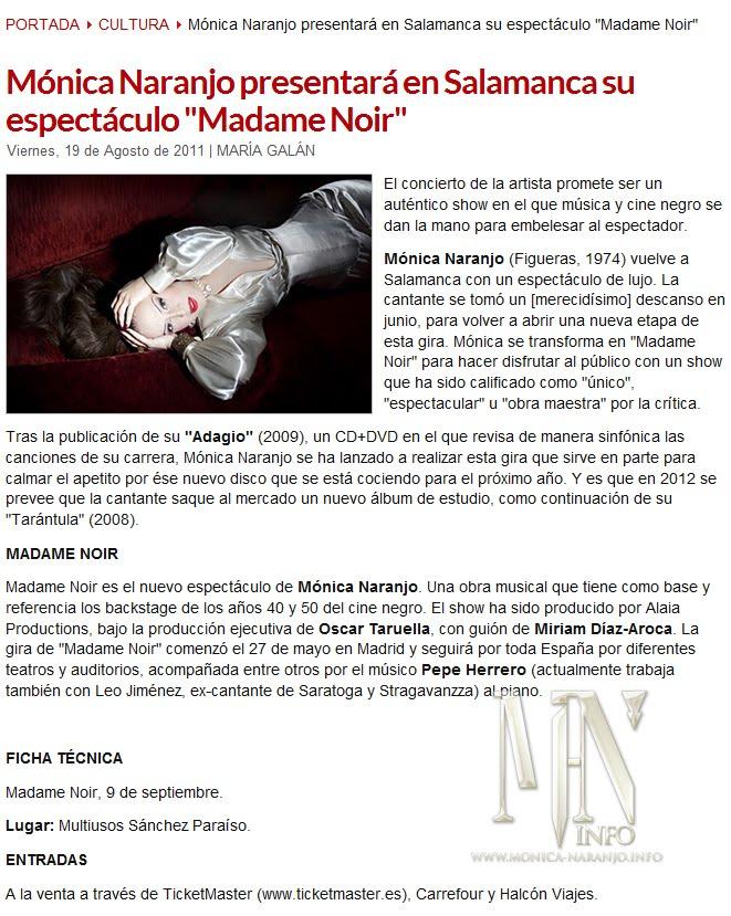 Mónica Naranjo presentará en Salamanca su espectáculo