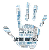 hand with words about alzheimer's