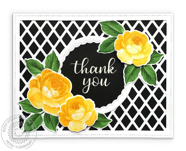 Sunny Studio Stamps: Everything's Rosy Yellow, Black & White Layered Rose Thank You Card (using Everyday Greetings & Frilly Frames Lattice Dies)
