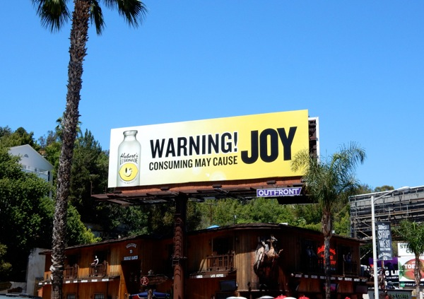 Hubert's Lemonade Joy billboard
