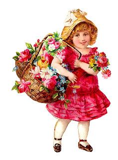 girl victorian flower basket digital image illustration