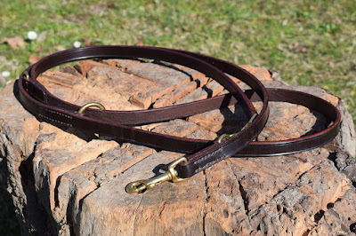 Adjustable training leash 6.5 feet long with solid brass snap-hooks made in dark brown leather and hand stitched