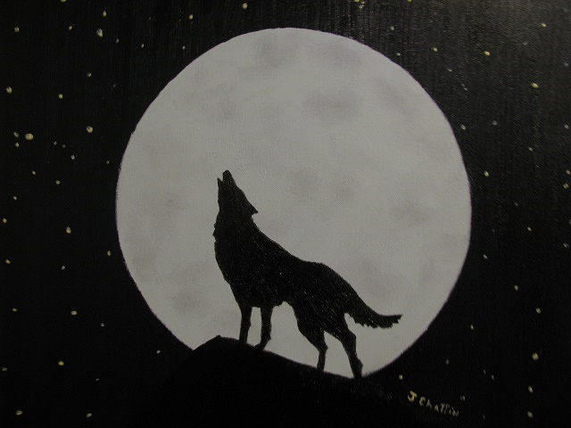 Poet's Soul Studio: Howling At The Moon 16in X 20in Oil On