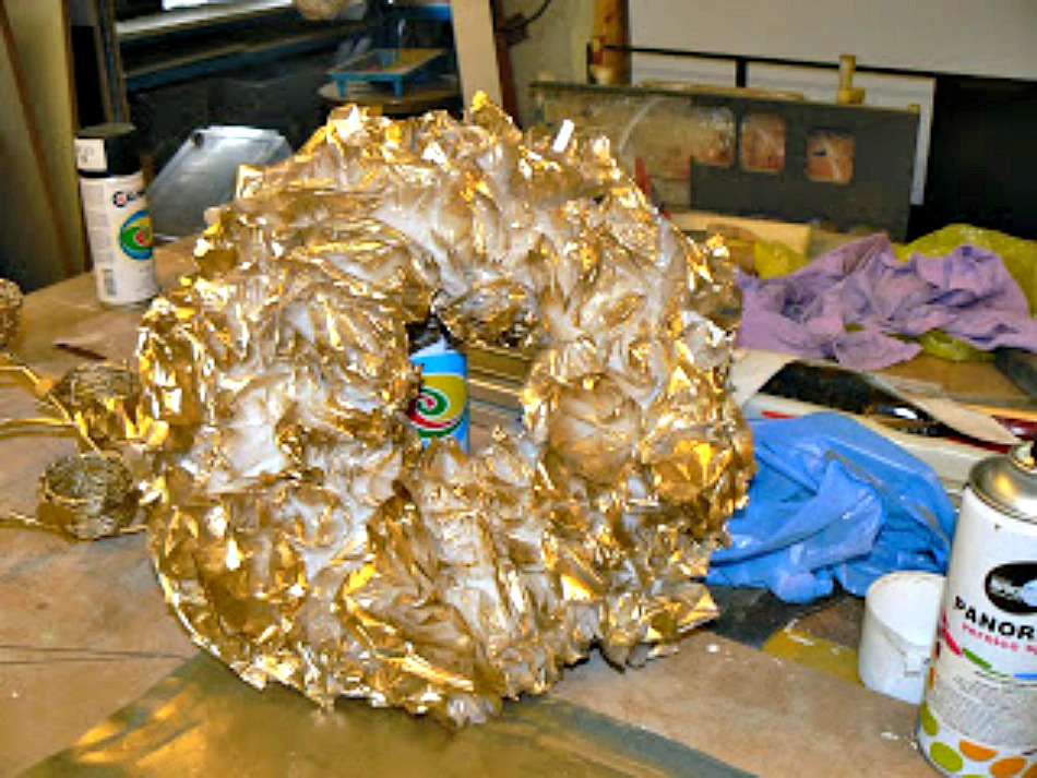 gold spray on christmas wreath