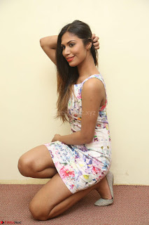 Nishi Ganda stunning cute in Flower Print short dress at Tick Tack Movie Press Meet March 2017 086.JPG