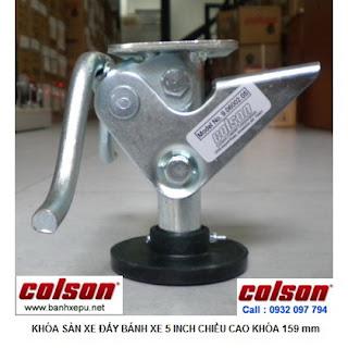 Bộ khóa sàn xe đẩy Colson Mỹ tổng chiều cao khi khóa 159mm | 6002x5 www.banhxepu.net