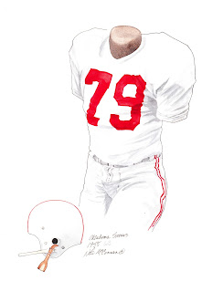 1955 University of Oklahoma Sooners football uniform original art for sale