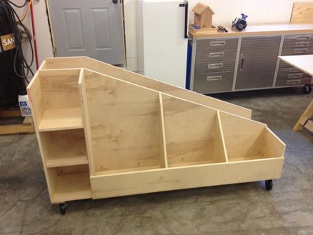 wooden rolling cart for wood storage - garage organization