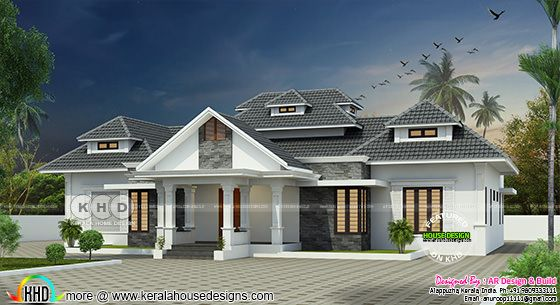 Sloping roof modern house with 4 bedrooms