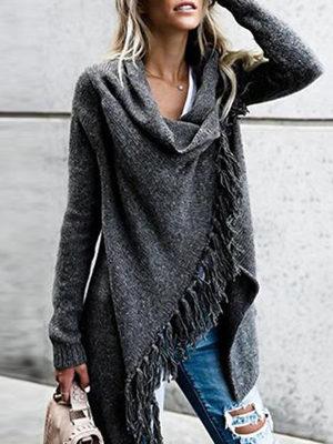 Knit Cardigan Irregular Tassel Shawl Sweater