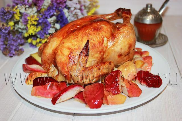рецепт курицы, запеченной с яблоками
