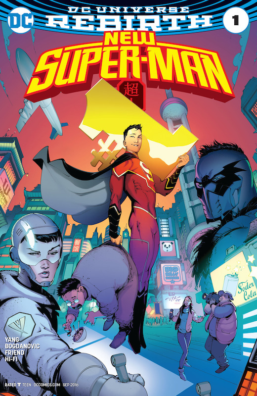 New Super-Man #1. Story: Gene Luen Yang Art: Viktor Bogdanovic Covers: Kelsey Shannon, Bernard Chang Inks: Richard Friend Colors: Hi-Fi Letters: Dave Sharpe  Superman created by Joe Shuster and Jerry Siegel.