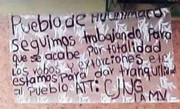 """""""Estamos para dar tranquilidad al pueblo"""", CJNG deja narcomantas en Huanimero, Guanajuato."""