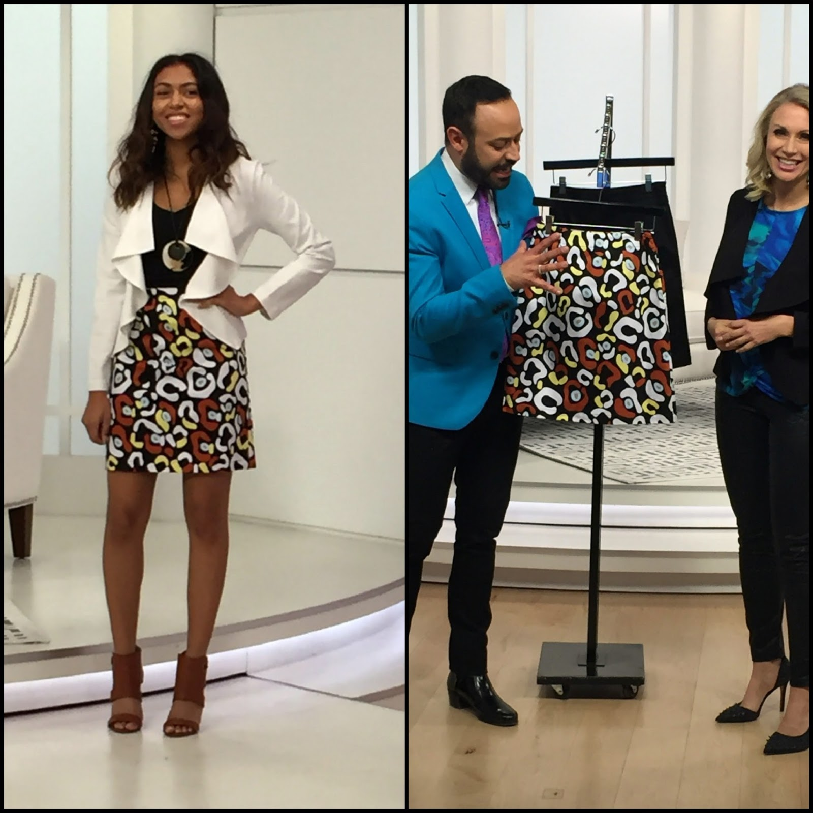 16961042c7ae9 Nick Verreos and EVINE Live host Wendi Russo and model in NV Nick Verreos  Stretch Woven Printed Skirt