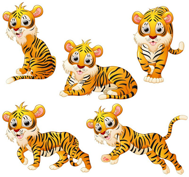 Happy tiger cartoon Royalty Free Vector