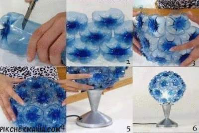 lamp made of plastic water bottles
