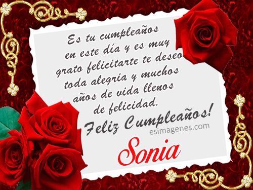 Feliz cumpleaños Sonia - Imágenes Tarjetas Postales con