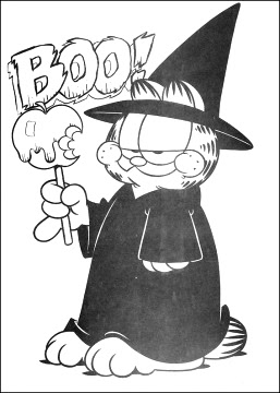 garfield i love you coloring pages | Disney Coloring Pages : Garfield and Halloween Pumpkin