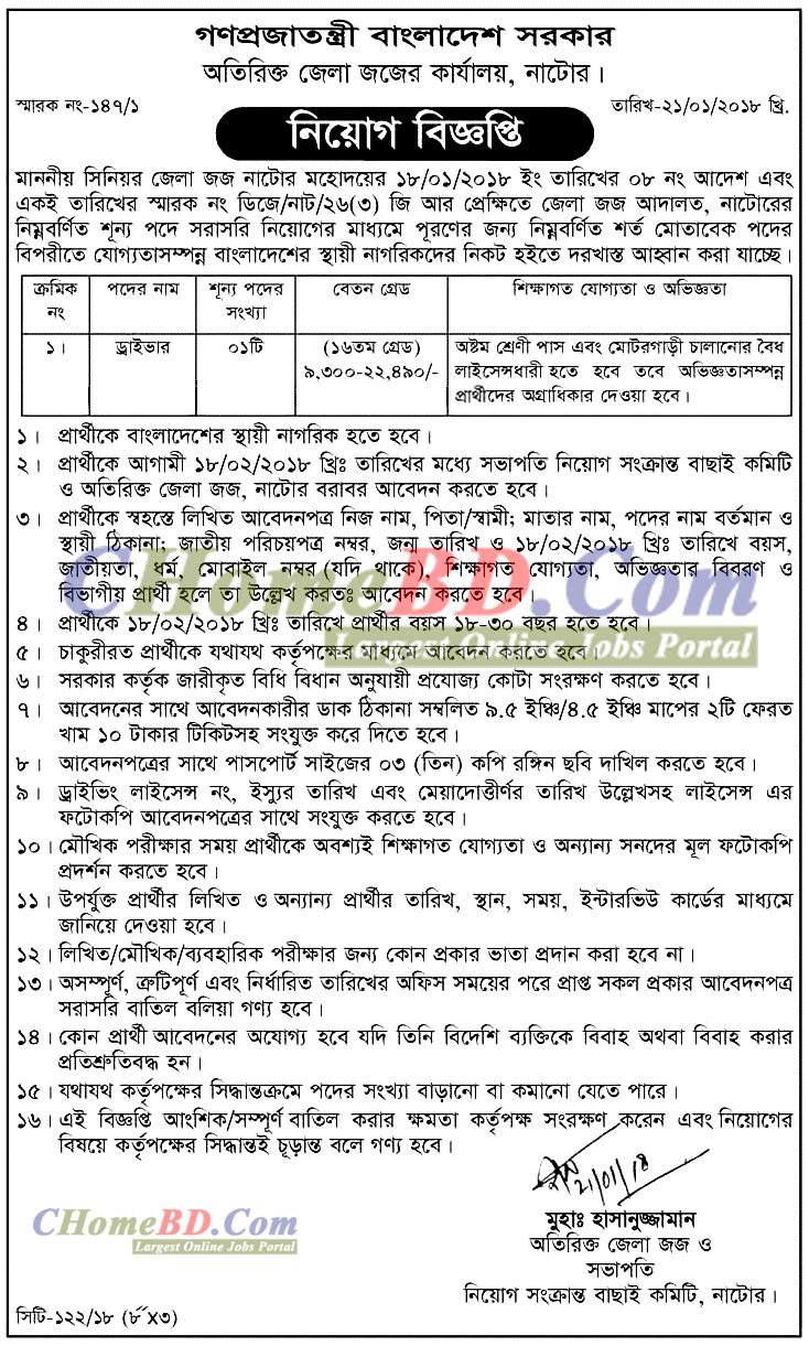 Additional District Judge's Office Job Circular 2018
