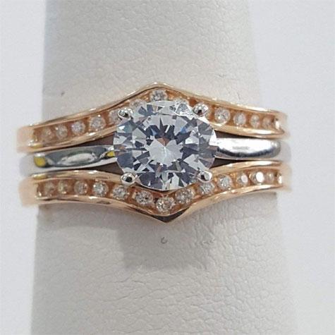 Ring Guard Wraps Enhancers Rose Gold Diamond Ring Guard U Shape
