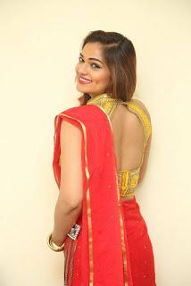 Actress Ashwini Po Shoot Stills In Red Saree With Golden Choli (22).jpg