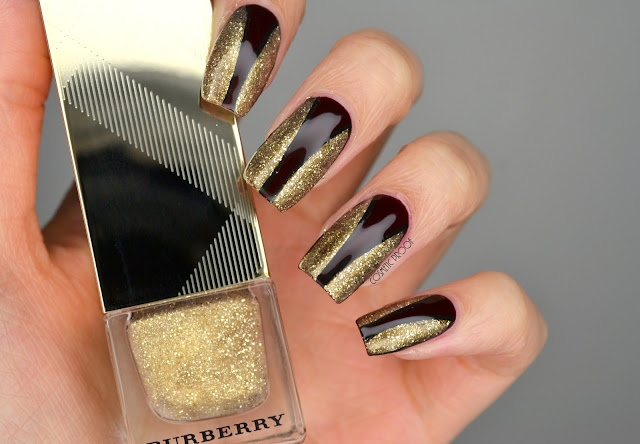 Burberry Gold Shimmer Nail Art Review