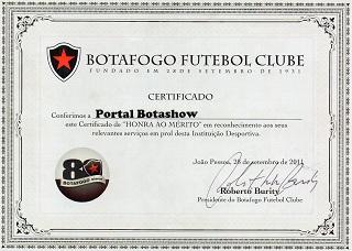 BOTASHOW RECEBE CERTIFICADO DE HONRA AO MÉRITO DO BOTAFOGO FUTEBOL CLUBE