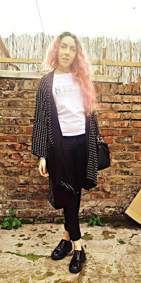 Stephi LaReine// UK Fashion, Lifestyle & Beauty Blogger, From A Confined Space Kimono Jacket, Autum/Winter 2014, Oversize Kimono Jacket// From A Confined Space* T-shirt// Sumayah Deria* Ripped Skinny Jeans// Quiz* Patent Brogues// Asos Bowler Bag// Primark