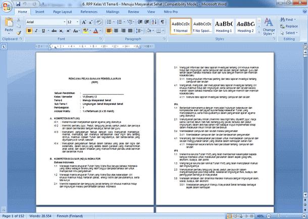 Contoh RPP SD Kelas 6 Semester 2 Kurikulum 2013 Revisi 2019-202018