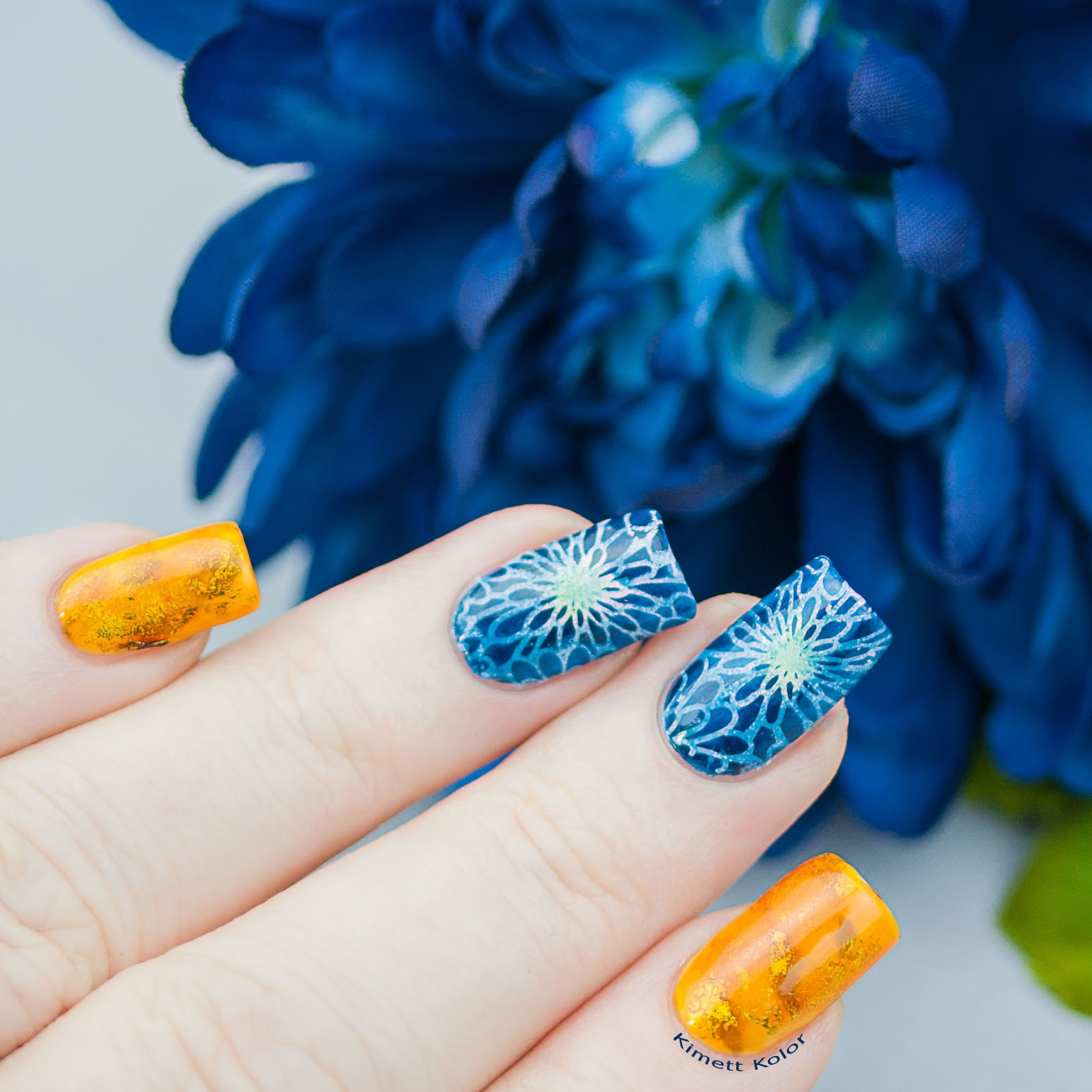 KimettKolor November Theme Topaz Chrysanthemum Nail Art