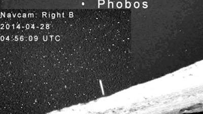 Navcam On Phobos shows a UFO in the shape of a tube or cigar.