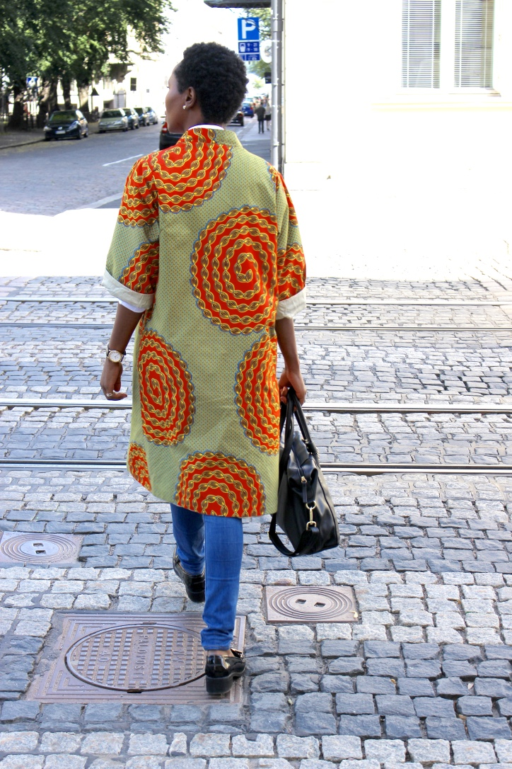 details of the back of an African print coat