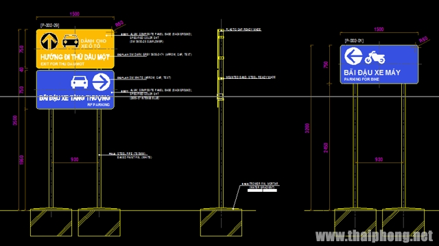 Bản vẽ bảng hiệu chỉ dẫn đường bộ file autocad