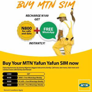 How to get 8X the value of your recharge + Free WhatApp on MTN - MTN Yafun Yafun