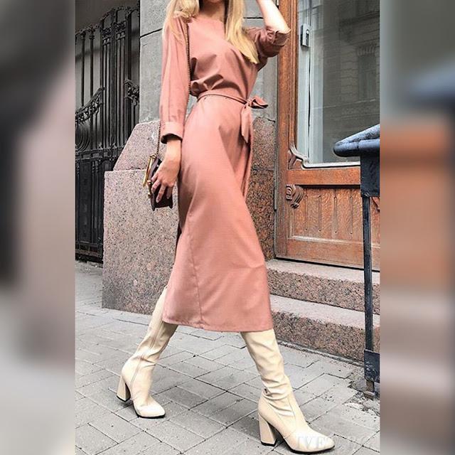 Μακρυμάνικο ανοιχτό ροζ φόρεμα MAFALDA PINK