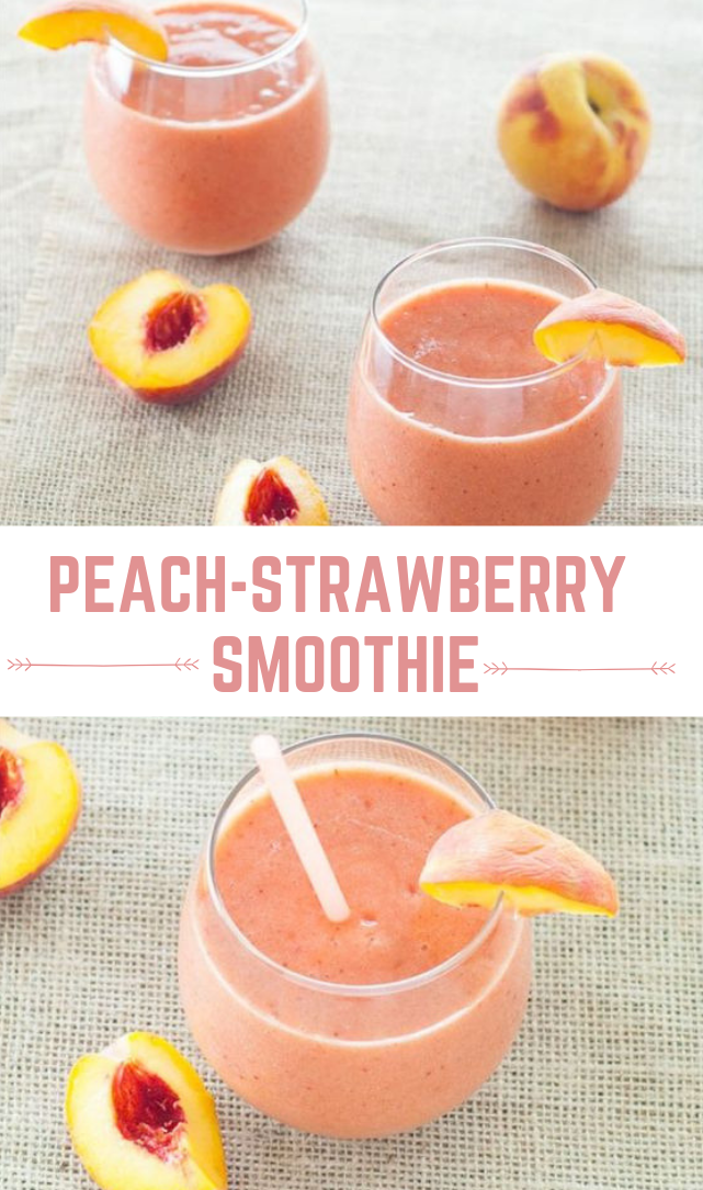 Peach-Strawberry Smoothie #smoothie #drink