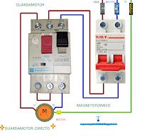 Guardamotor directo monofásico con fase neutro pequeño motor