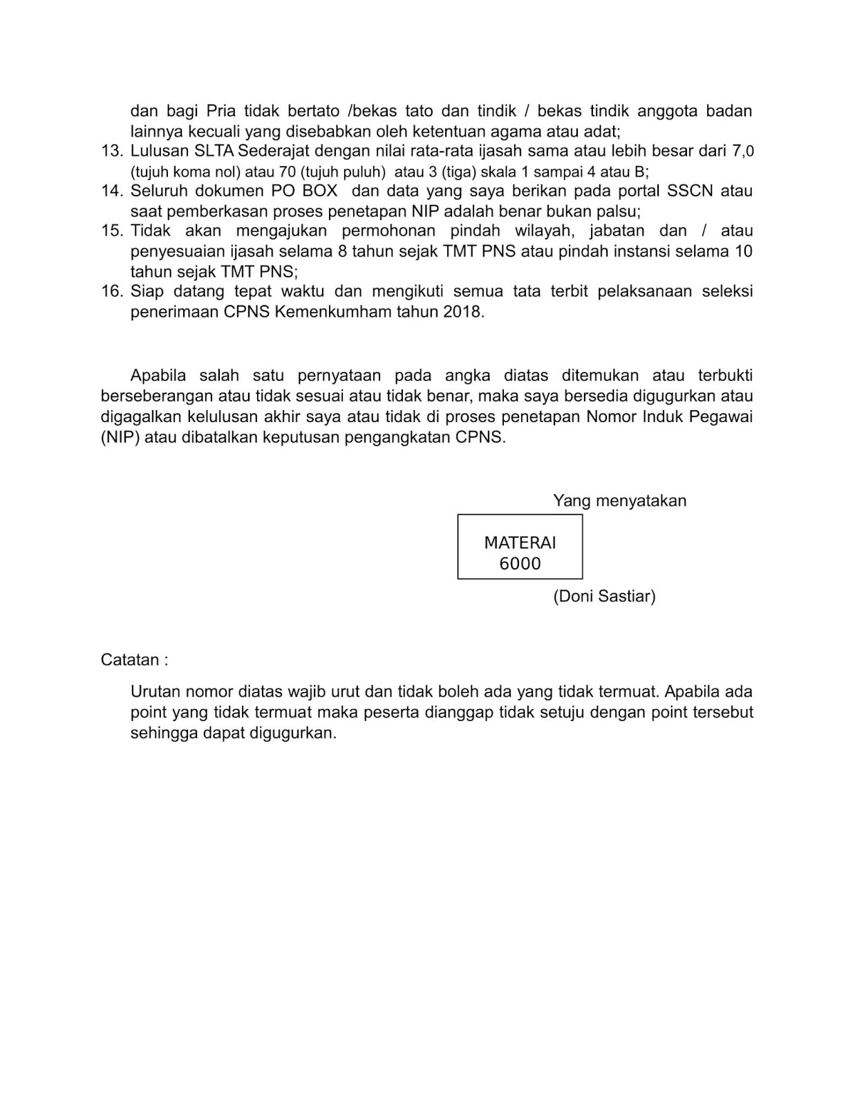 Contoh Surat Lamaran dan Surat Pernyataan CPNS Penjaga Tahanan Kemenkumham (Pelamar Umum)
