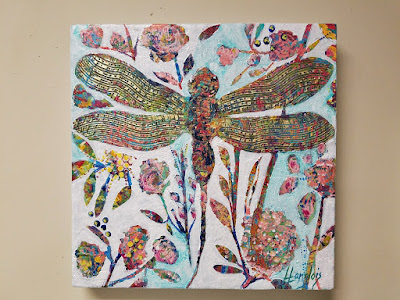 textured dragonfly painting