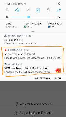 Aplikasi NoRoot Firewall Sudah Aktif