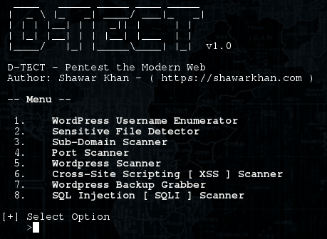 D-TECT | Find xss,click jacking and sql injection